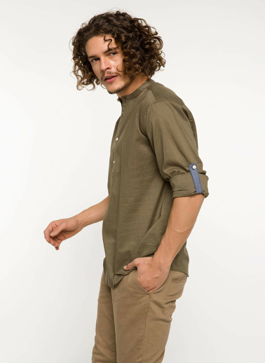 DeFacto Kol Katlamalı Modern Fit Gömlek Haki